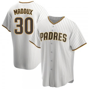 Youth Greg Maddux San Diego Padres Replica White /Brown Home Jersey