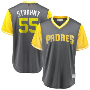 """Youth Majestic Matt Strahm San Diego Padres Replica Yellow """"STRAHMY"""" Gray/ 2018 Players' Weekend Cool Base Jersey"""