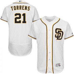 Men's Majestic Luis Torrens San Diego Padres Authentic White Flex Base Alternate Collection Jersey